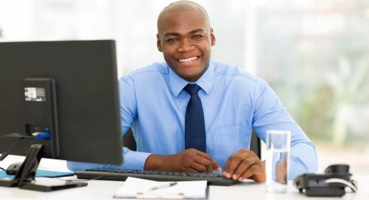worker with desktop computer